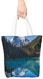 Canvas shopping bag,Landscape Lake in Northern Canada with Slim Trees and Snowy Frozen Mountain Novelty,Reusable Grocery Bags,16.5