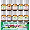 Floral Ocean Gardens Good Essential Fragrance Oil Set (PACK OF 10) 5ml Set Includes Lavender, Rose, Jasmine, Lilac, Lotus, Peony, Gardenia, Green Tea, Cucumber, and Ocean Breeze Scented Oils