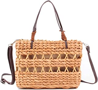Natural Corn Husk Straw Bag,Holiday Weave Handle Tote with Shoulder Strap, Women Shoulder Bag Rattan Straw Handbag Travel Bag, 15 * 20Cm