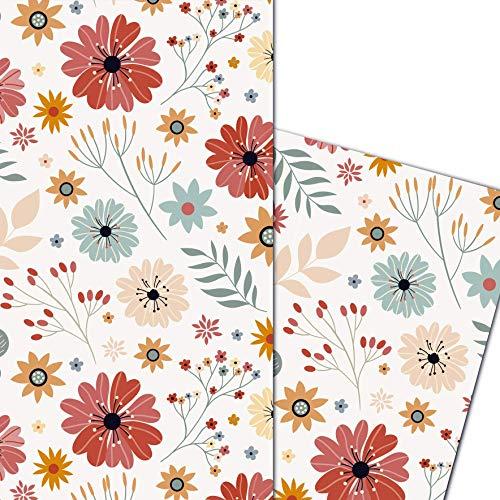 ArtUp.de Geschenkpapier Blumen 5 große Bögen DIN A1 84 x 59cm - fröhliches Blumenmotiv Blumenstrauß Blumenmuster - hochwertige stabile Qualität 100 g/m² - Lieferung gefaltet auf A4