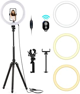 """LED Ring Light, 10"""" Selfie Ring Light with Adjustable Tripod Stand & Phone Holder for Live Stream, Makeup, YouTube Video Photography, Compatible iPhone Android"""