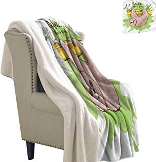 Acelik Flannel Double Blanket Sloth Exotic Mammal on Branch Reversible Blanket for Bed and Couch W59 x L78