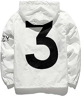 Showlovein Men Waterproof Letter Print Jacket Hip-Pop Long Sleeve Hooded Anti-Sun Hoodie Streetwear(Black White, XS-XL)