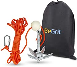 BeGrit Small Boat Anchor Kit Folding Grapnel Anchor Carbon Steel for Canoe Jet Ski SUP & Paddle Board 1.5 lb with 32.8 ft Anchor Tow Rope Carrying Bag