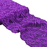 5 Yards Floral Lace Ribbon Stretch Tulle Lace Trim Elastic Webbing Fabric for DIY Jewelry Making Craft Clothes Accessories Gift Wrapping Wedding Party Decoration (Dark Violet)