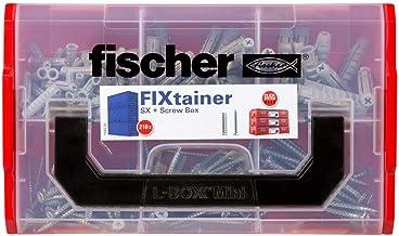 Fischer 534084 Fixtainer – Spreidpluggen SX-pluggen en schroefbox, pluggen en schroeven set, 210-delig