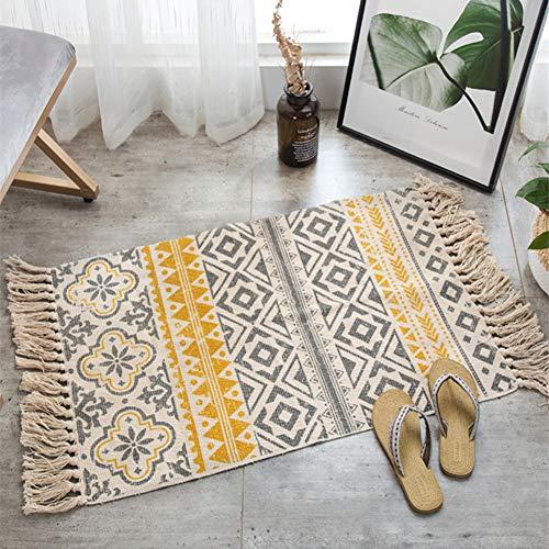 ZHOUAICHENG Retro böhmischen handgewebte Baumwolle Leinen Teppich Teppich Nacht Teppich geometrische Bodenmatte Wohnzimmer Schlafzimmer Teppich Home Decor,C,60 * 90cm