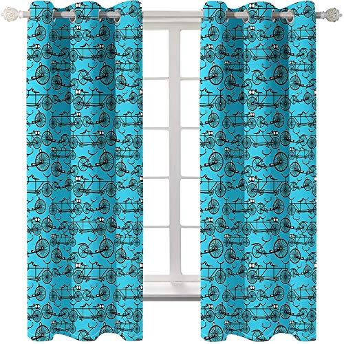 KnBoB Polyester Vorhänge Blau Fahrrad Gardinen Wohnzimmer Set Größe 214x160CM