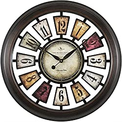 FirsTime and Co Colorful Numeral Plaques Clock - 22.5 Black Metallic Frame/Multicolor PlaquesDimensions: 3 D x 22.5 Diameter Weight: 7 lbs.