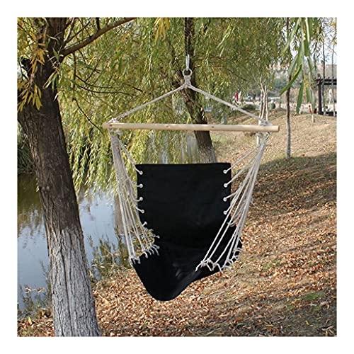 Hamacas Pequeña hamaca portátil Algodón de algodón Porche Swing Relajación Al Aire Libre Garden Asiento Viajes Camping Colgante Tumbona Plaza perezosa Muebles y accesorios de patio ( Color : Black )
