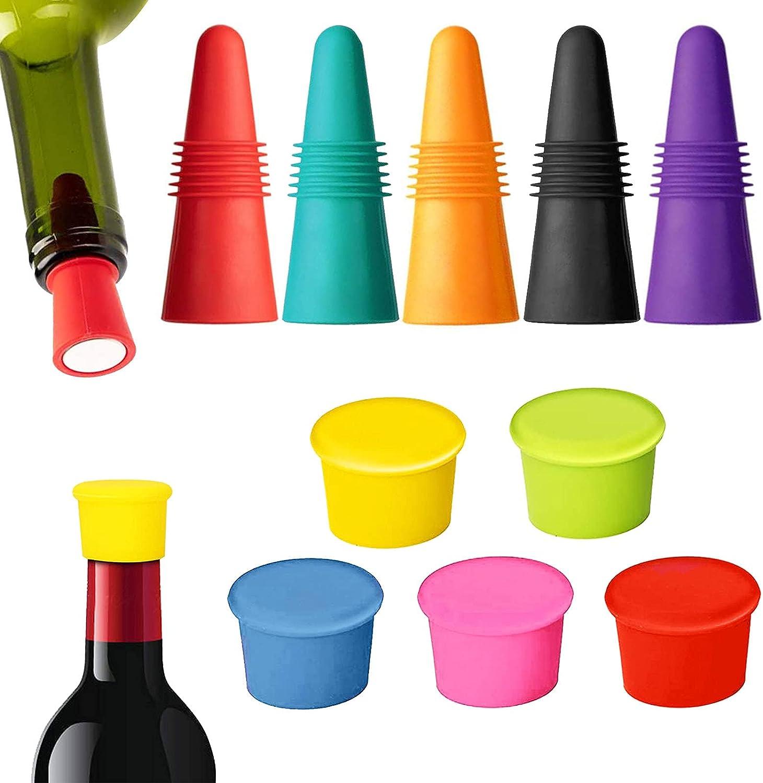 Osuter 5PCS Tapones de Silicona y 5PCS Tapones Botellas Vino Reutilizables Colored Tapón para Botellas de Vino Cerveza Bebida y Botella de Condimento