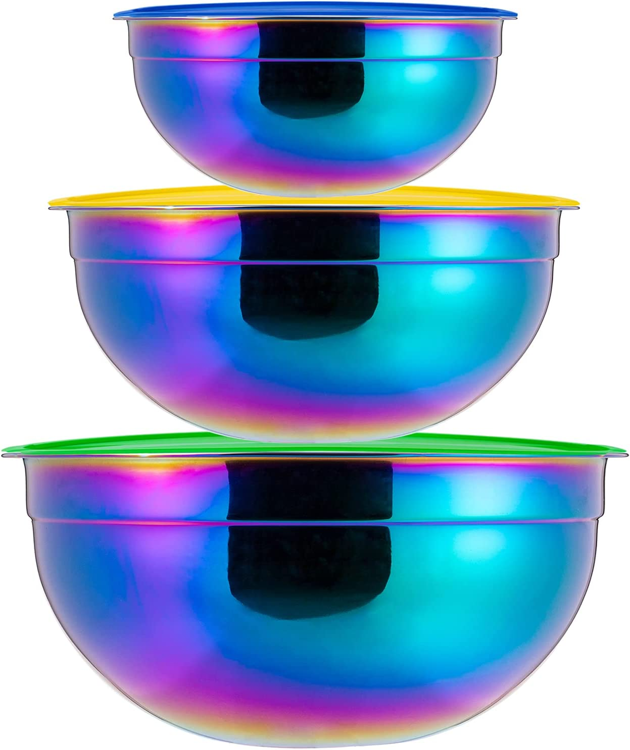 Rainbow Mixing Bowls Set with Lid Salad Stainless Ste ☆最安値に挑戦 激安挑戦中 Bowl 18 8