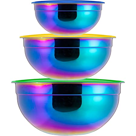 Rainbow Mixing Bowls Set with Lid, Salad Bowl 18/8 Stainless Steel 3-Piece Cooking, Baking, Kitchen Food Preparation, Nesting Bowls for Space Saving Storage Set of 3 Dishwasher Safe 2, 3.5, 5.5 Liter