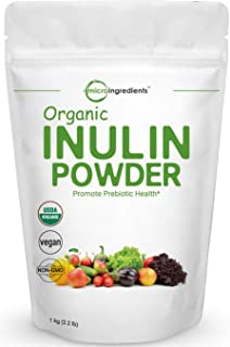 Organic Inulin FOS Powder (Jerusalem Artichoke), 1KG (35 Ounce), Inulin for Baking, Prebiotic Intestinal Support, Colon and Gut Health, Natural Water Soluble Fibers for Smoothie & Drinks, Vegan