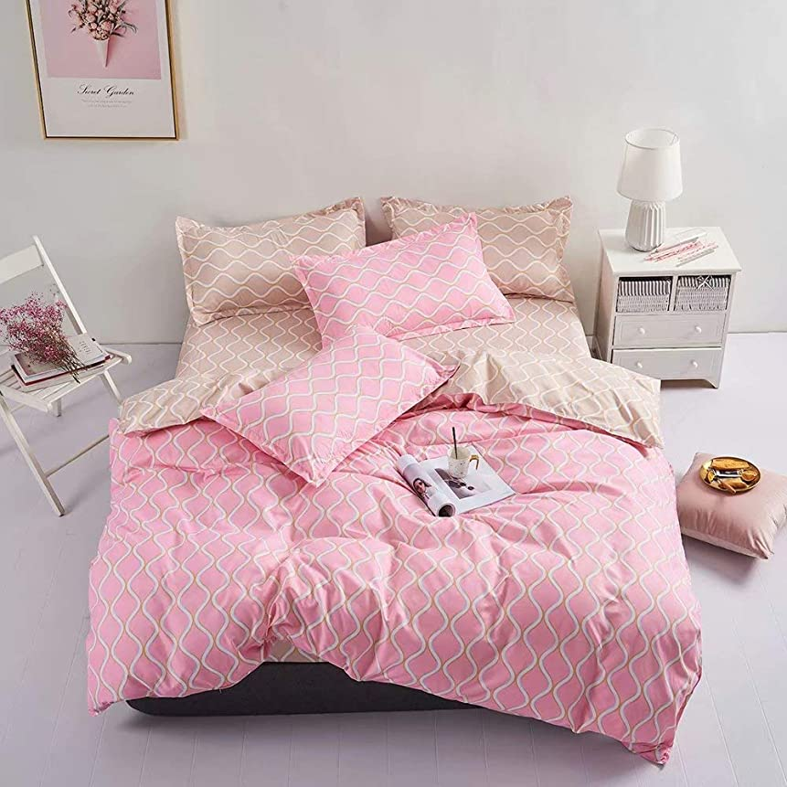 達成衝撃リングStramile格子 ダブル 布団カバー おしゃれ ピンク 寝具カバーセット 4点セット ベッド用 布団カバーセット ダブル 波線