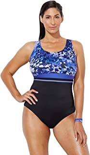 Swimsuits for All Women's Plus Size Empire Waist One Piece Swimsuit