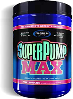 Gaspari Nutrition Super Pump Max, Pre Workout 40 Servings, Non-Habit-Forming, Sustained Energy & Nitric Oxide Booster Supports Muscle Growth, Recovery & Replenishes Electrolytes, Pink Lemonade