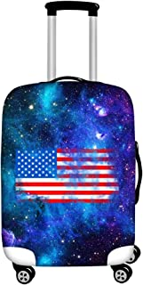 FOR U DESIGNS Men's Usa Flag Print Travel Suitcase Protective Cover Luggage COVER M-(22-25 inch) Blue Galaxy USA Flag