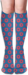 Fishman Donut Fabric - Identical Dress Color 1 INCH Compression Socks Adult Knee High Sock Gym Outdoor Socks 50cm 19.7inch