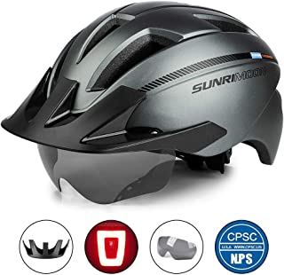 SUNRIMOON Adult Bike Helmet with Rechargeable USB Light, CPSC Certified Road & Mountain Bicycle Helmet with Magnetic Goggles & Detachable Visor Adjustable Size for Men/Women, 20.87-24 Inches