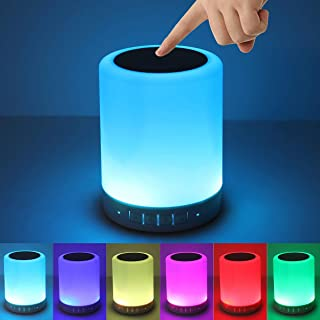 Night Light Bluetooth Speaker, Portable Wireless Bluetooth Speakers, Touch Control Bedside Table Light, Outdoor Speakers B...