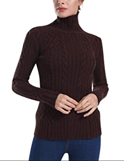 Women's Cable Knit Long Sleeves High Neck Pullover Sweaters