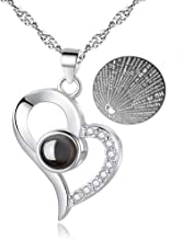 Woman Necklace Love Memory 925 Silver Projection Pendant 100 Languages I Love You to Lover, Mom,Grilfriend