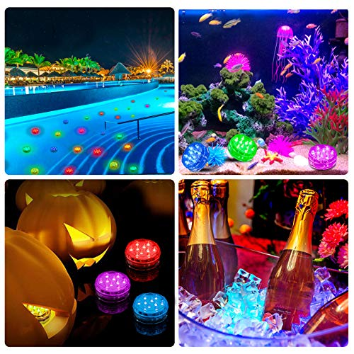 TEPENAR Submersible Led Lights - Waterproof Remote Controlled Multi Color EFX Tea Light with 8pcs Suction Cup for Lighting Up Lantern Puck Fish Tank Pool Pond - 4 Pack