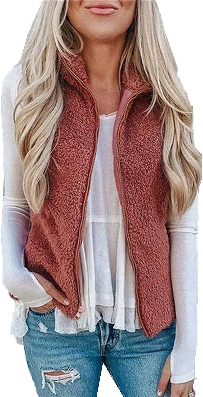 Women Fuzzy Gilets Jackets Lightweiht Sherpa Full Zip Solid Faux Fur Outwear Vests