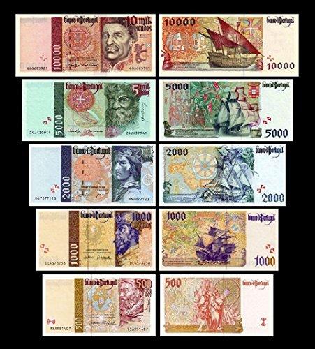 *** 500 - 10000 portugiesische Escudos - 1.Serie - 1995 - 2000 - 5 Banknoten - Reproduktion ***