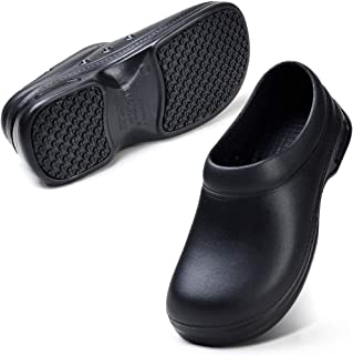 YKH Unisex Black Work Shoes Durable Non-Slip Work Clogs Chef Shoes for Kitchen Gardening Nursing