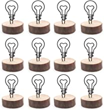 LICTOP Wooden Base Place Card Holder Real Wood Table Number Holder Party Decoration Clip Holder for Picture Memo Note Photo,Pack of 12£¨Light Bulb£