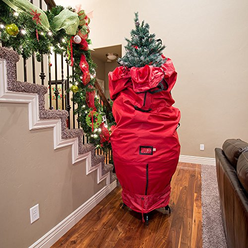 bag over Christmas tree in a hallway.
