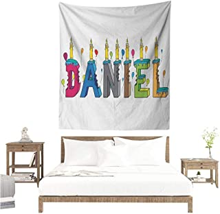 WilliamsDecor Wall Hanging Tapestries Daniel Grooving Cheerful Male Name with Happy Occasion Birthday Theme Bite Marked Cake 70W x 93L INCH Suitable for Bedroom Living Room Dormitory
