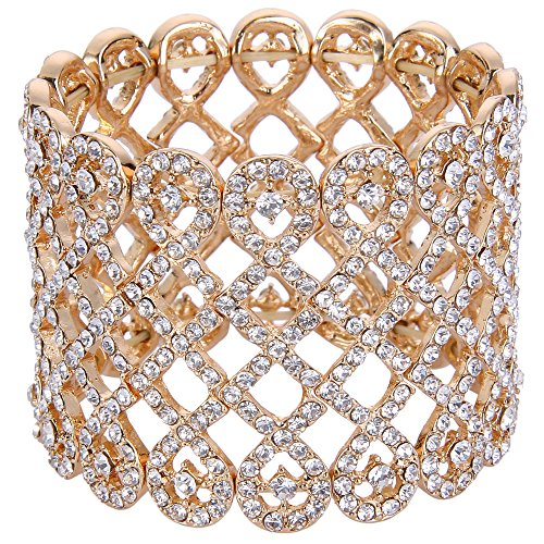 EVER FAITH Women's Austrian Crystal Art Deco Love Knot Wide Bridal Stretch Bracelet Clear Gold-Tone
