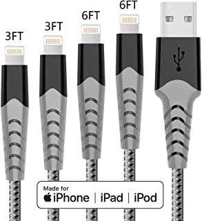 Haribol MFi Certified iPhone Charger Cable, 4Pack 3FT 6FT Nylon Braided Fast Charging Cable for iPhone 11, 11 Pro,11 Pro M...