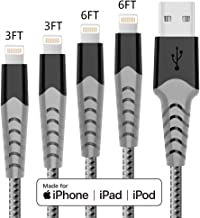Haribol MFi Certified iPhone Charger Cable, 4Pack 3FT 6FT Nylon Braided Fast Charging Cable for iPhone 11, 11 Pro,11 Pro Max, Xs, Max, XR, X,8 Plus,8,7 Plus,7,6 Plus,6,6S Plus,6s,5,iPad and More(Grey)