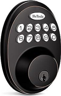قفل درب ورودی بدون کلید ، قفل درب HuTools با صفحه کلید ، قفل Deadbolt الکترونیکی با 20 کد کاربر ، قفل خودکار ، 1 کد زمان ، 1 قفل دکمه ، برنز مالش روغن