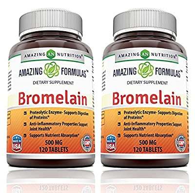 Amazing Formulas Bromelain - 500 Mg Tablets, Proteolytic Enzymes - Supports Dijestion of Proteins - Anti-Inflammatory Properties - Supports Nutrient Absorption. (120 Count (Pack of 2))