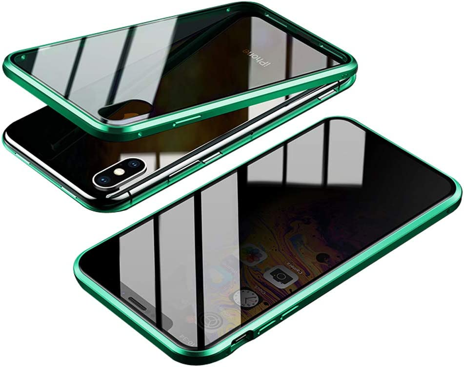 Anti-Spy Case for iPhone Xs Max (6.5 inch), Jonwelsy 360 Degree Front and Back Privacy Tempered Glass Cover, Anti Peeping Screen, Magnetic Adsorption Metal Bumper for iPhone Xs Max (Green)