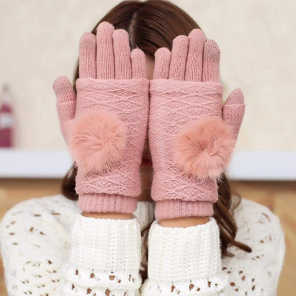Detachable Dual Layer Winter Gloves Womens Warm Pompoms Fur Ball Fingerless Glove Touchscreen Mittens Knit Wool Gloves - (Color: 8)