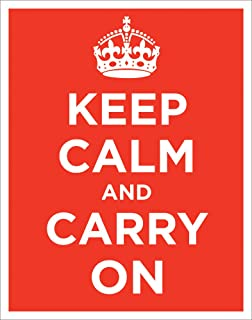 Keep Calm and Carry On Vintage Art (Propaganda, Motivational, Red) Poster Print 11x14