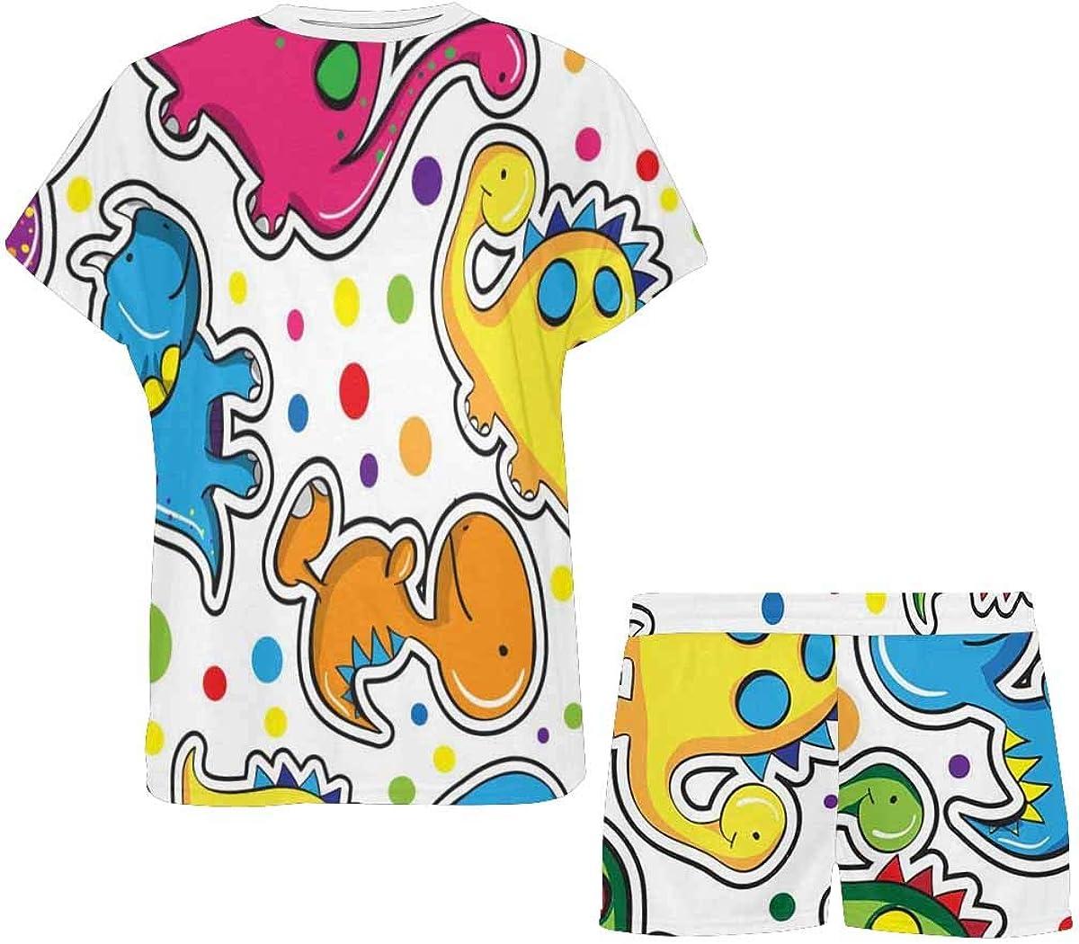 InterestPrint Cute Dinosaurs Print Women's Breathable 2 Piece Shorts Pajama Sleepwear Set