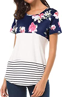 Women's Short Sleeve Scoop Neck Floral Print Stripes Color Block Casual Comfy Blouse