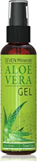 Travel Size Organic Aloe Vera Gel with 100% Pure Aloe From Freshly Cut Aloe Plant, Not Powder - No Xanthan, So It Absorbs Rapidly With No Sticky Residue (2 fl oz)