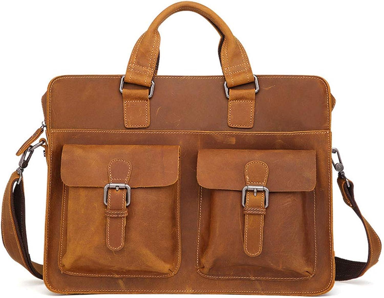 Men's Briefcase, Vintage Leather MultiFunction Handbag, Business Shoulder Bag, Laptop Bag, Messenger Bag