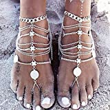 Anglacesmade Tobillera bohemia con monedas en capas con anillo para el dedo del pie, sandalias descalzas para la playa, pulsera de tobillo de verano para mujeres y niñas (plata)