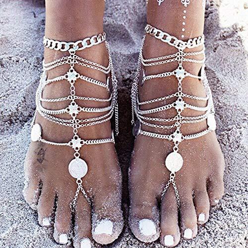 Anglacesmade Tobillera bohemia de monedas con anillo para el dedo del pie sandalias descalzas joyería tobillo verano pulsera para mujeres y niñas (plata)