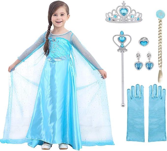 4674 opinioni per URAQT Elsa Costume, Set da Principessa Elsa Corona Bacchetta Guanti Treccia,
