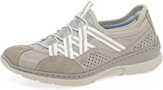 Rieker Women's Ice Gray Trainer Slip On Zip Flat Shoe Sneaker Gray UK 6 - EU 41 - US 10